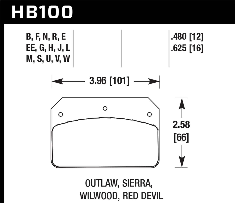 Hawk Performance HB100J.480 Disc Brake Pad